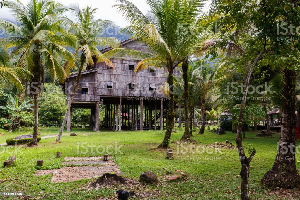 Traditional wooden houses Melanau Tall stock photo