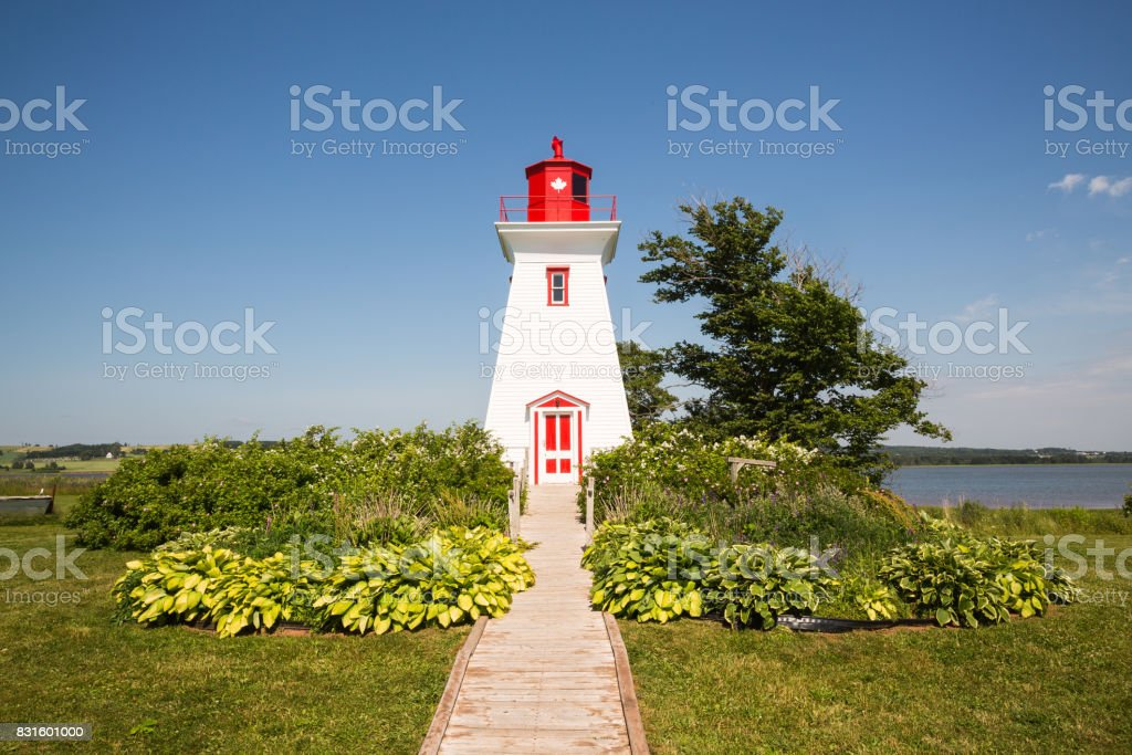 Traditional  Wooden Lighthouse on Prince Edward Island in Canada stock photo