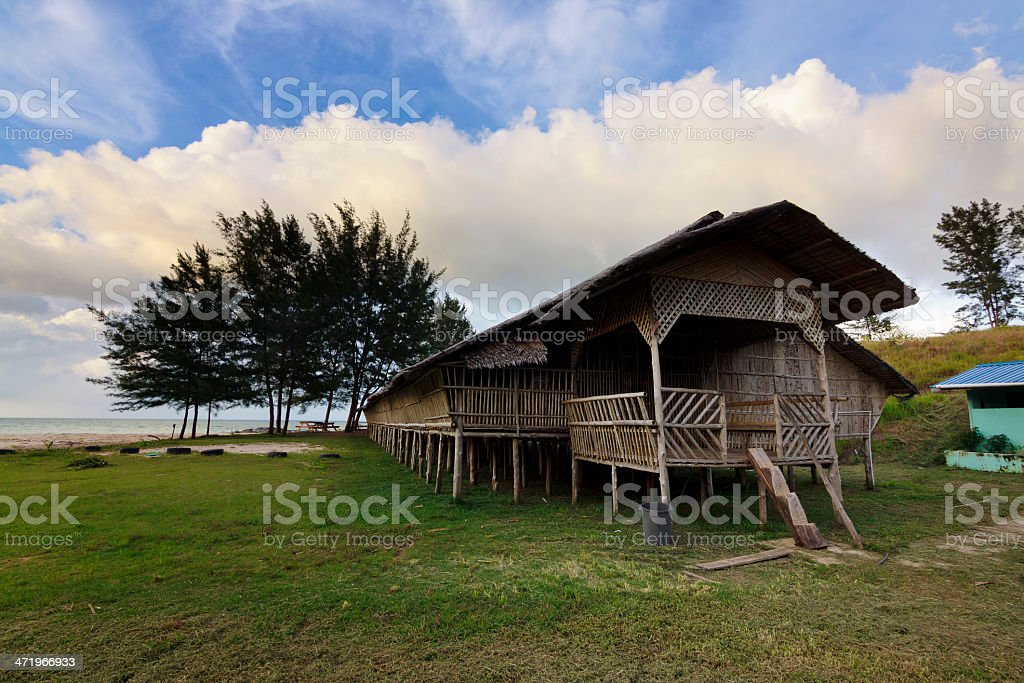 Traditional wooden long house at Sabah, Malaysia stock photo