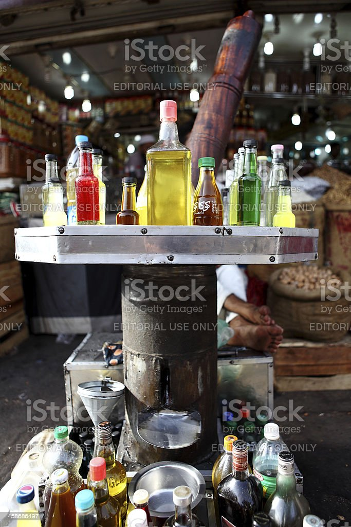 Traditional Wooden Natural Oil Extractor or Expeller Press, Kar stock photo