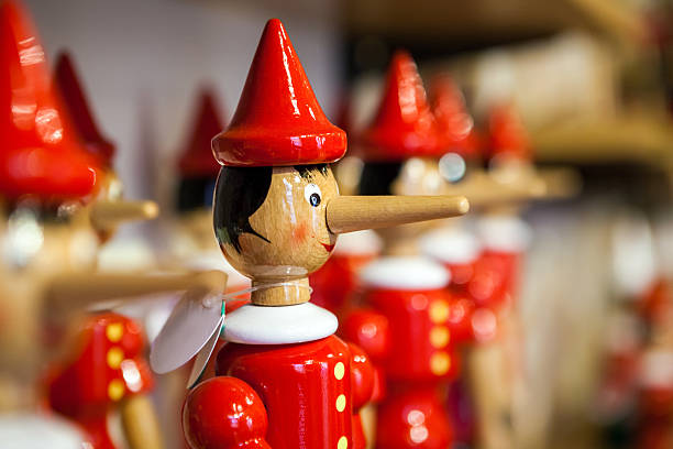 Traditional wooden Pinocchio toy. Traditional wooden Pinocchio toy. Italy. dishonesty stock pictures, royalty-free photos & images