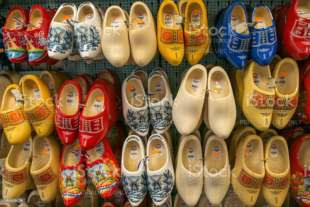 Traditional Wooden Shoes Clog As Gift In Sale Amsterdam Holland