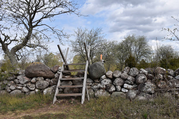 Traditional wooden stile crossing an old dry stone wall stock photo