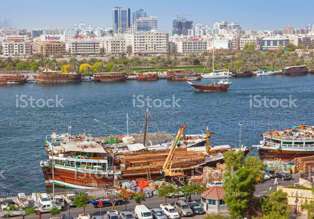 Dubai Uae May 16 2011 Traditional Wooden Trading Dhows Being