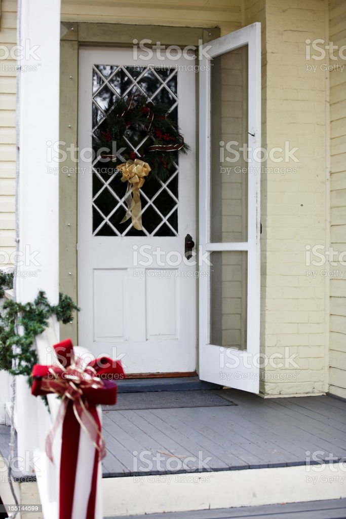 Traditional wooden US house with christmas decorations royalty-free stock photo