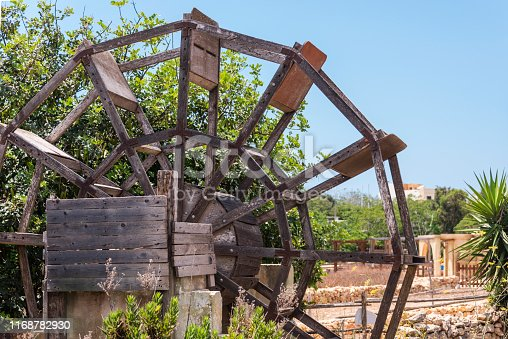Traditional wooden water wheel