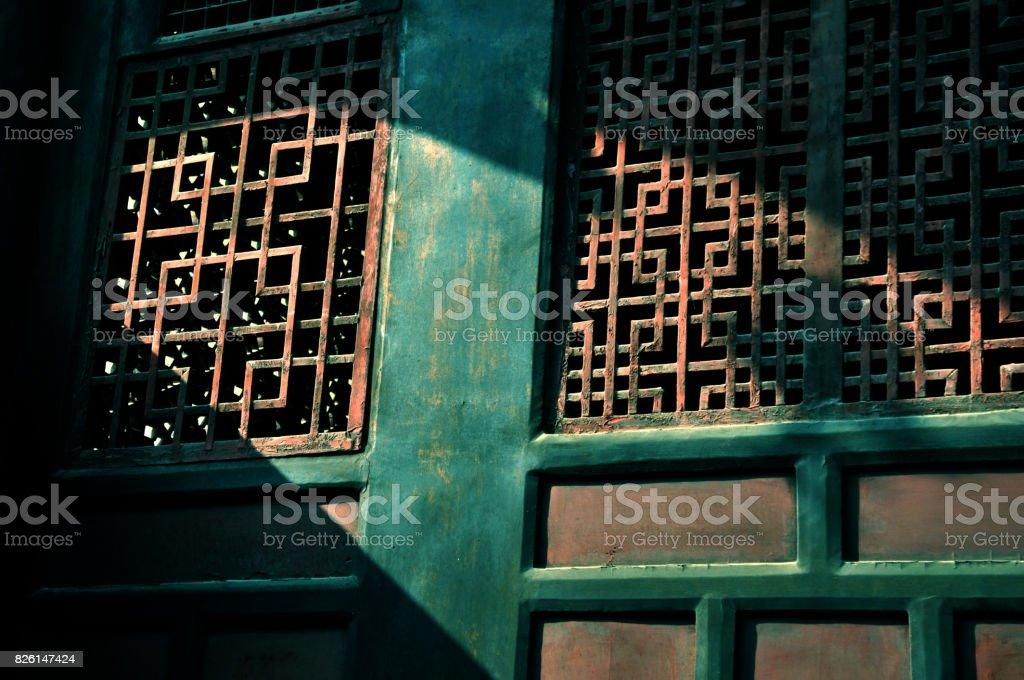 Traditional wooden window in WenShu Monastry Chengdu,China stock photo