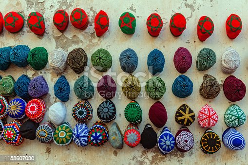 Traditional woolen hatsand and woolen caps, Morocco Northern Africa,Nikon D3x
