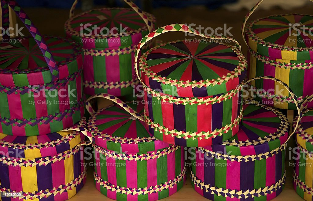 Traditional woven palm leaves basket stock photo