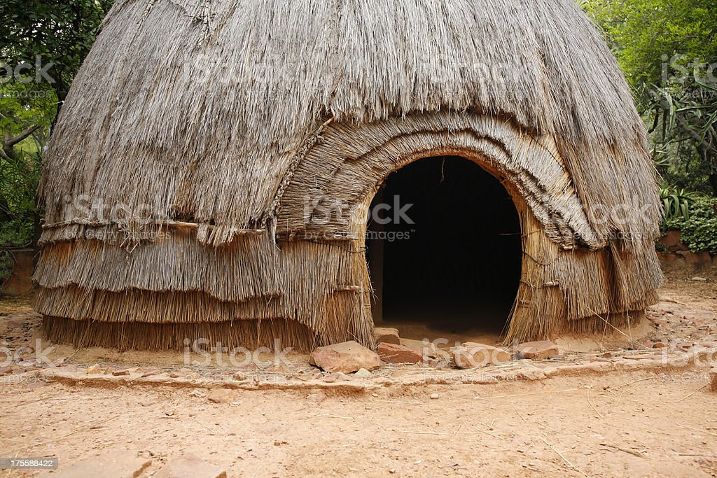 Traditional Zulu hut South Africa royalty-free stock photo