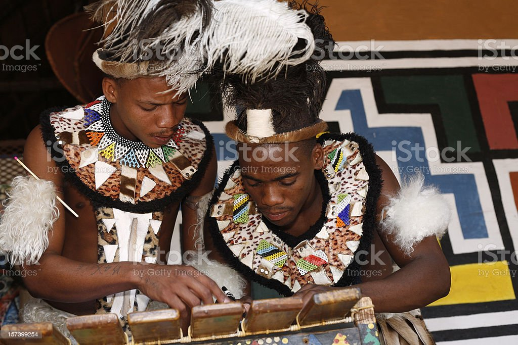 Traditional Zulu men of South Africa royalty-free stock photo
