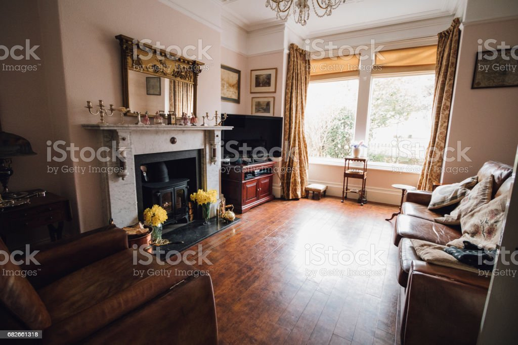 Traditionally British Living Room stock photo