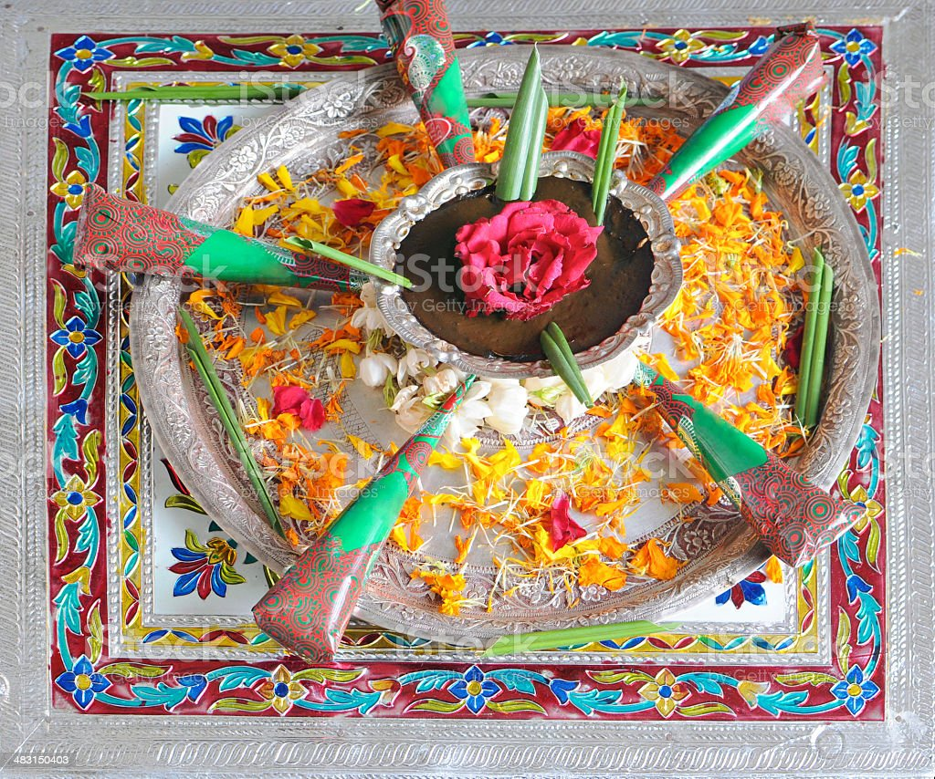 Traditionally decorated Henna plate in India. stock photo