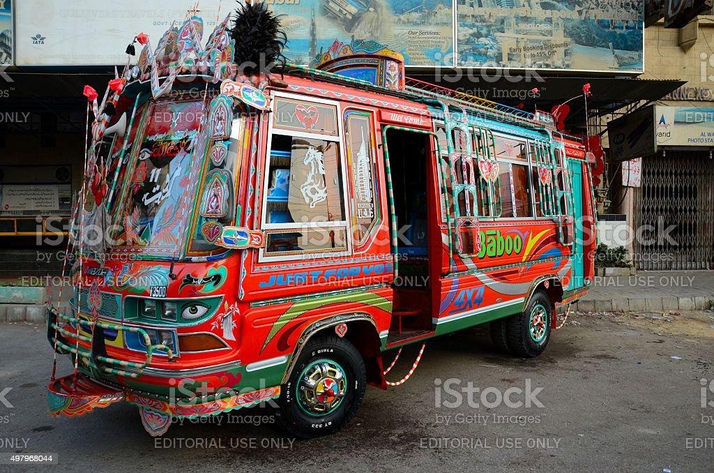 Traditionally decorated Pakistani bus art Karachi Pakistan stock photo