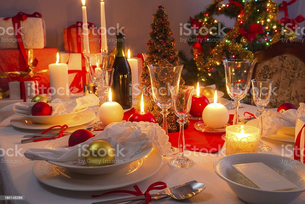 Traditionally set table for Christmas Eve royalty-free stock photo
