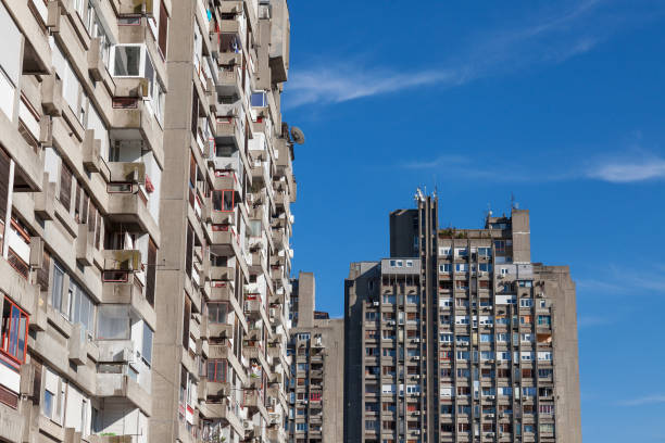 Traditionnal communist housing in the suburb of Belgrade, in New Belgrade. These kind of high rises are symbols of the brutalist architecture stock photo
