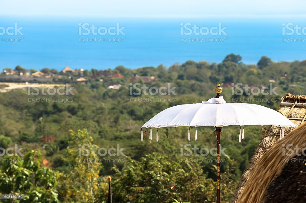 Traditions umbrella from Bali Indonesia stock photo