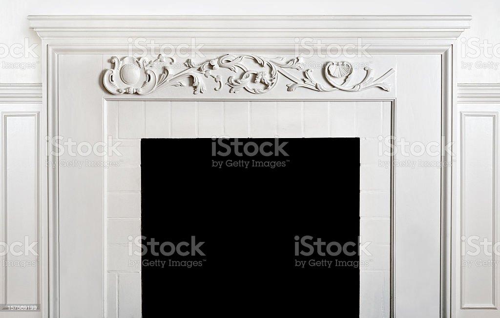Traditonal Fireplace  And Mantelpiece stock photo