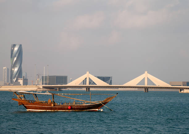 Traditonal fishing boat of Bahrain is called as Dhow stock photo
