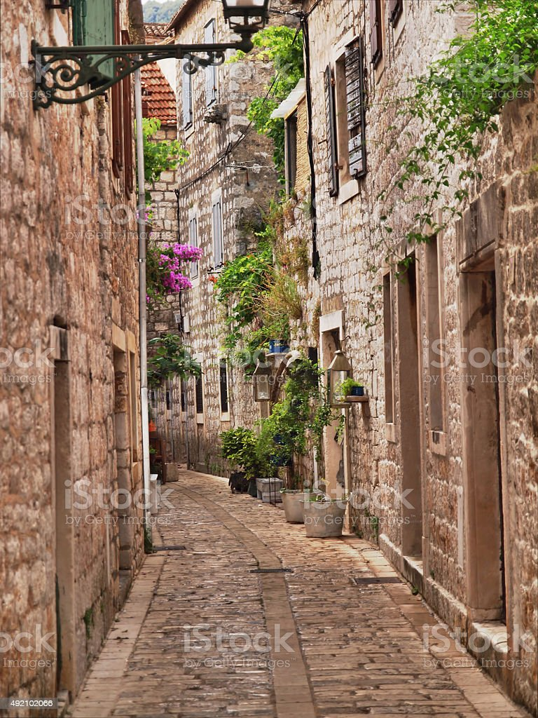 Tradtional dalmatian street stock photo