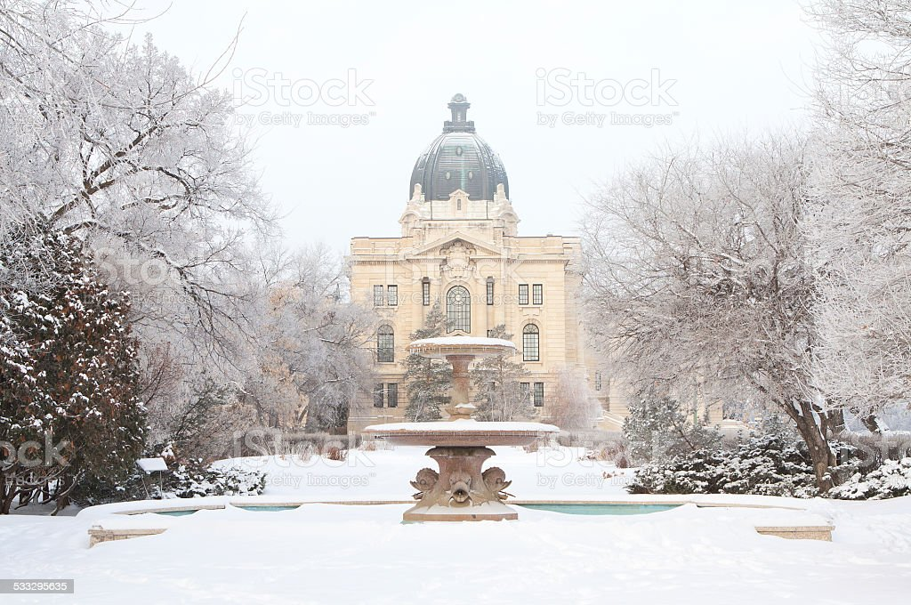 Trafalgar Fountain and Saskatchewan Legislative Building in Winter stock photo
