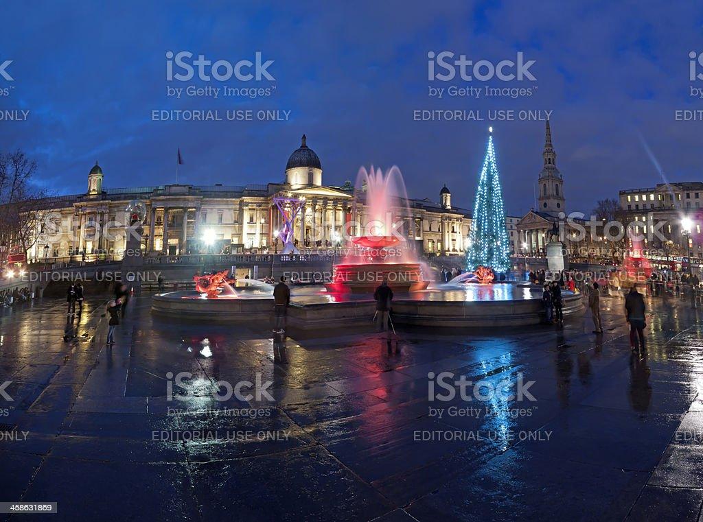 Trafalgar Square at dusk in London royalty-free stock photo