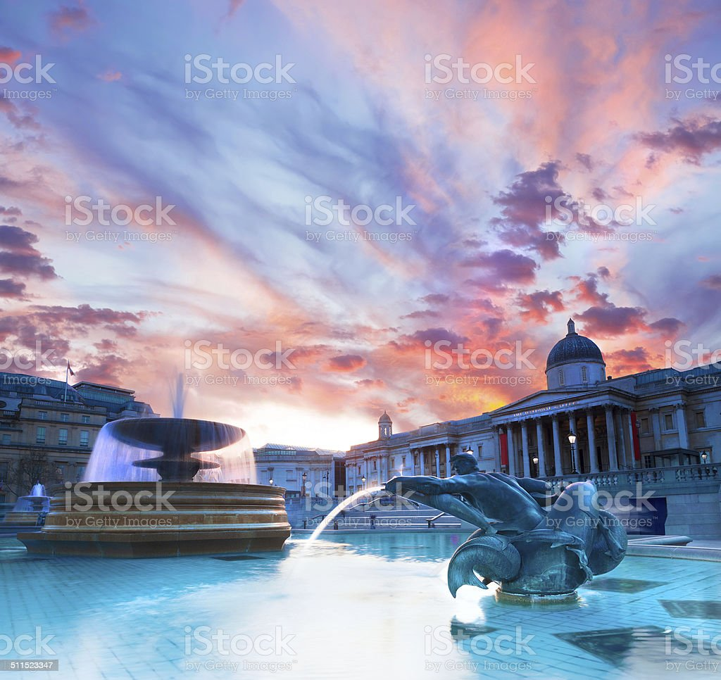 Trafalgar Square at sunset stock photo
