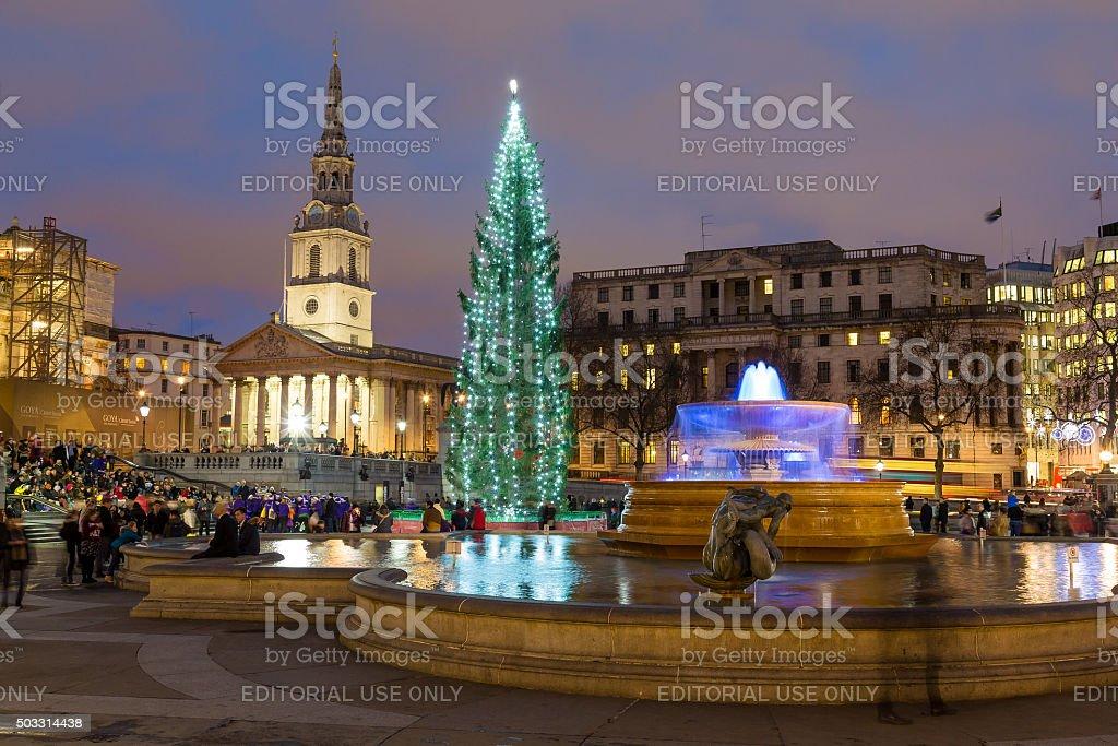 Trafalgar Square in London at Christmas stock photo