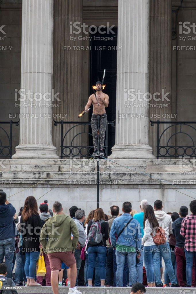 Trafalgar Square juggler royalty-free stock photo