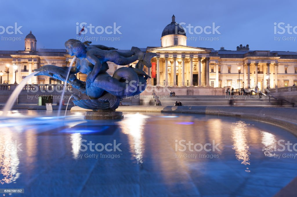 Trafalgar Square illuminata di Notte, Londra stock photo