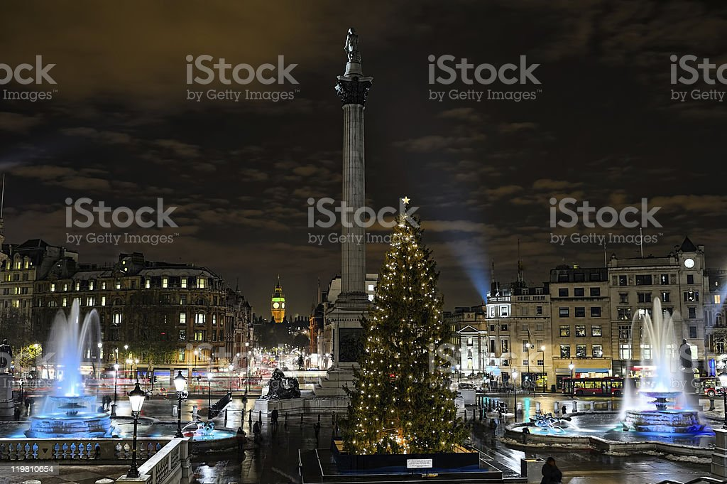 Trafalgar Square, London, England, UK, at night in winter stock photo
