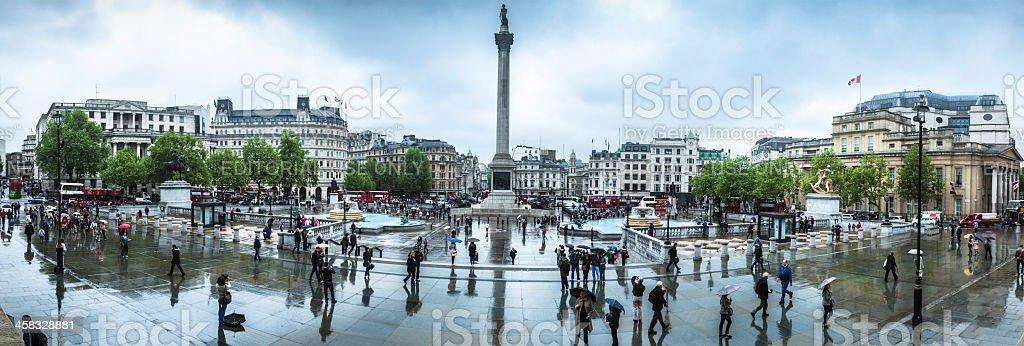 Trafalgar Square on a Rainy Spring Afternoon Panorama stock photo