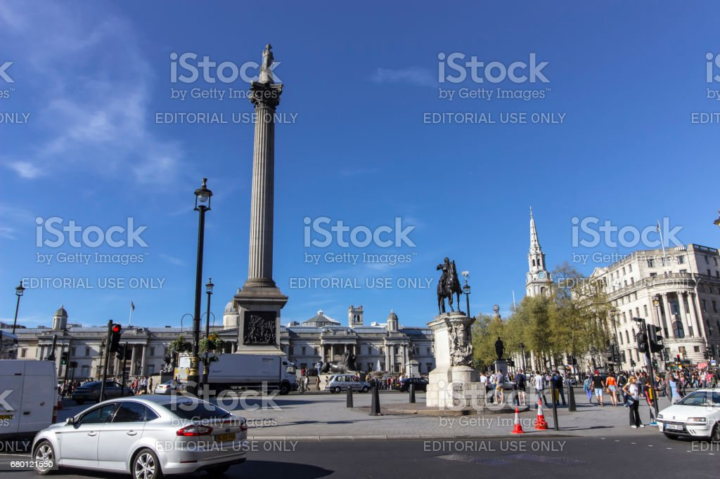 Trafalgar Square on a sunny day in London stock photo
