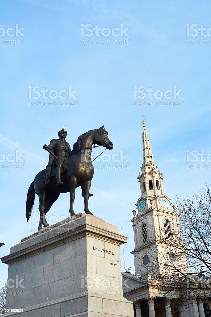 Trafalgar Square statue stock photo