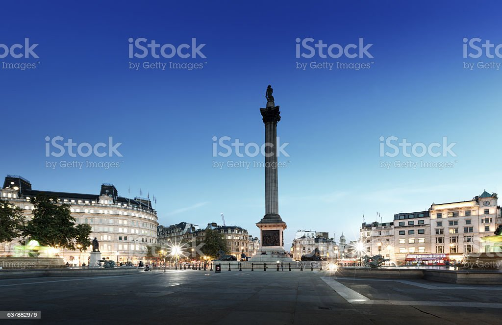 Trafalgar Square with Nelson Column at night, London, UK stock photo