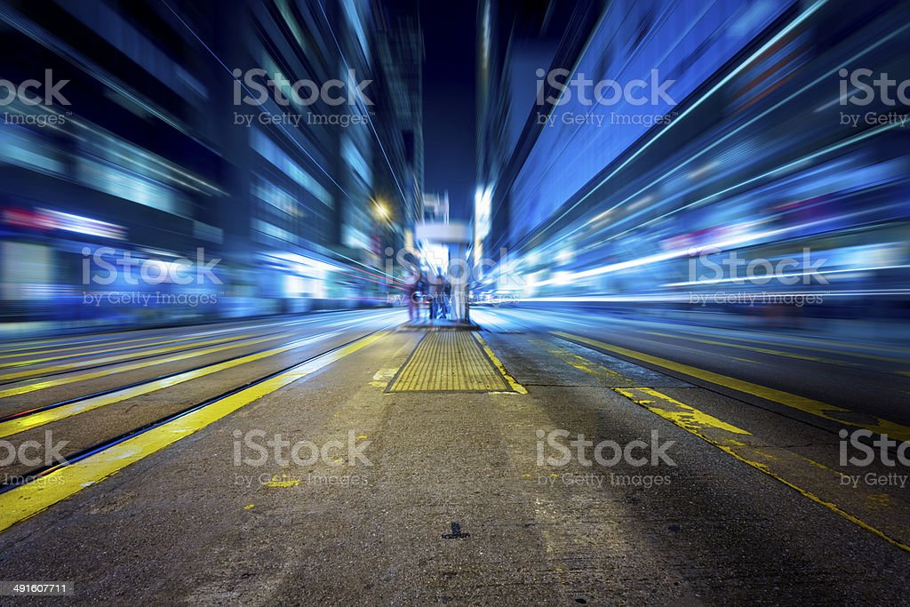 traffc in night of hong kong stock photo