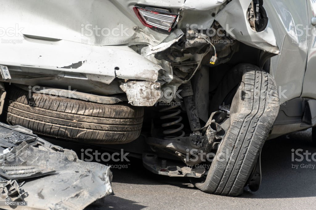 Damaged car in a traffic accident.
