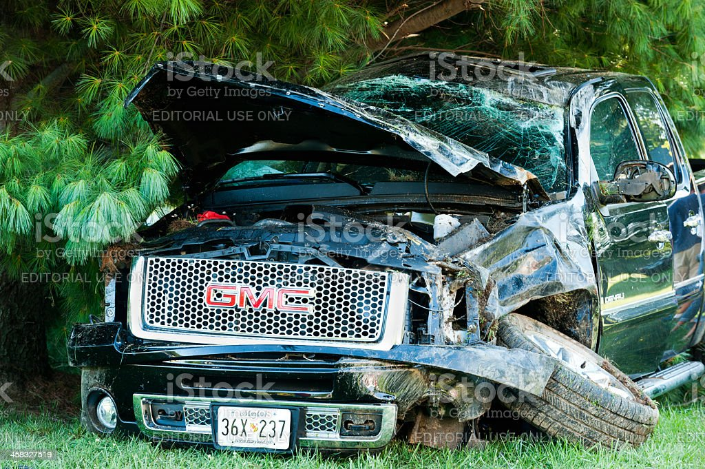 Traffic accident - GMC 4x4 Pick-up Truck rollover stock photo