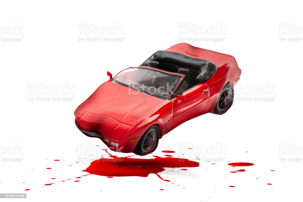 Traffic Accident With Damage And Blood Splash Scene Car Crash