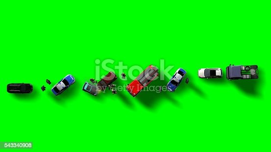684793794istockphoto Traffic accident with vehicles aerial view isolated on green screen 543340908