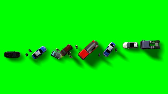 684793794 istock photo Traffic accident with vehicles aerial view isolated on green screen 543340908
