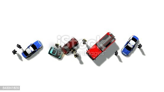 684793794istockphoto Traffic accident with vehicles aerial view isolated on white 543341820