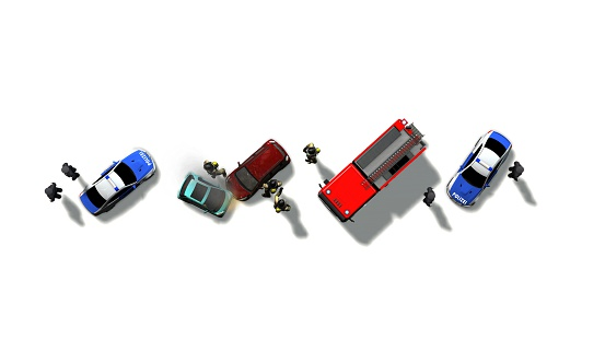 684793794 istock photo Traffic accident with vehicles aerial view isolated on white 543341820