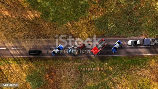 684793794istockphoto Traffic accident with vehicles on a highway aerial view 543340228