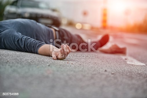 istock Traffic accident.Young man hit by a car 503754588