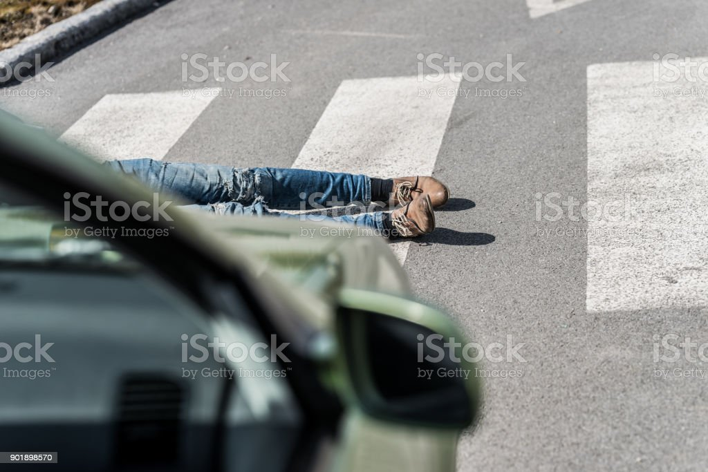 Traffic Accidentyoung Man Hit By A Car Stock Photo