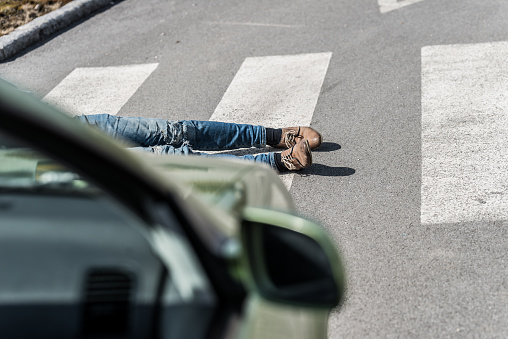 905971060 istock photo Traffic accident.Young man hit by a car 901898570