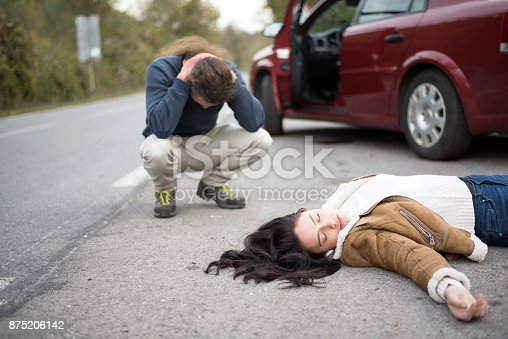 istock Traffic accident.Young woman hit by a car 875206142