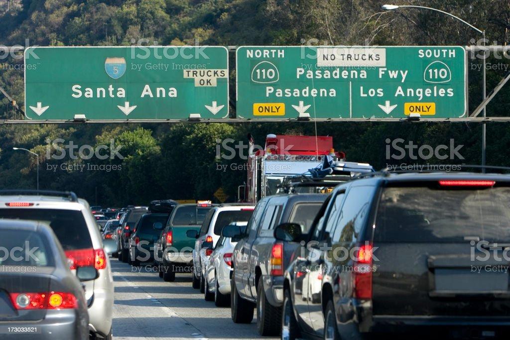 Traffic along Santa Ana road and Pasadena Freeway royalty-free stock photo