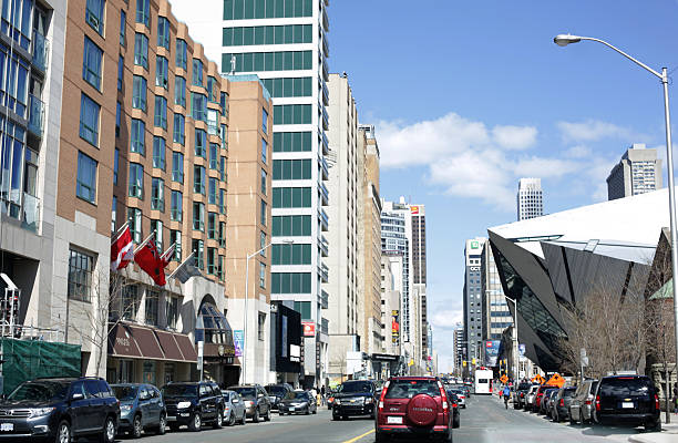 Traffic and Buildings on Toronto's Bloor Street West, Ontario, Canada stock photo